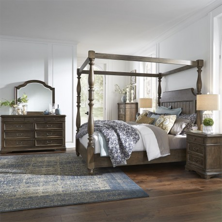 Homestead Queen Canopy Bed, Dresser & Mirror, Chest, Night Stand