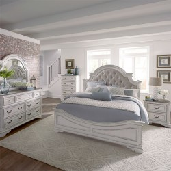 Magnolia Manor Upholstered Bed, Dresser & Mirror, Chest, NS