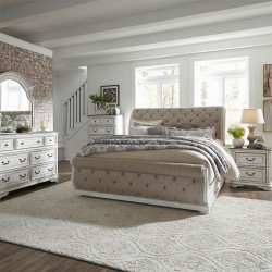 Magnolia Manor Uph Sleigh Bed, Dresser & Mirror, Chest, NS
