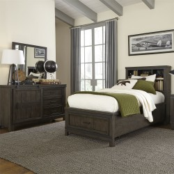 Thornwood Hills Youth Bookcase Bed, Dresser & Mirror