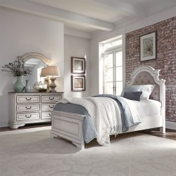 Magnolia Manor Youth Upholstered Bed, Dresser & Mirror