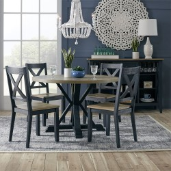 Lakeshore 5 Piece Pedestal Table Set- Navy