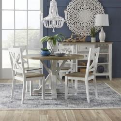 Lakeshore 5 Piece Round Table Set- White