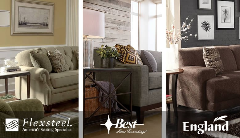 Upholstered furniture from the nation's best brands... Flexsteel, Broyhill, Rowe, La-Z-Boy, and England